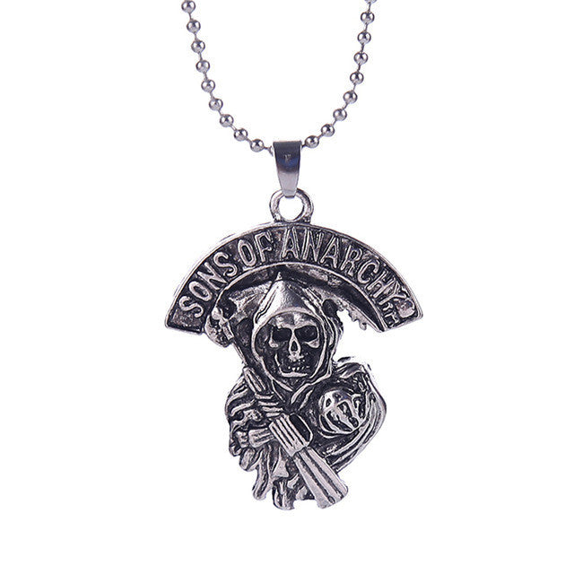 Sons of Anarchy necklace Death skeleton skull vintage antique silver pendant jewelry for men and women