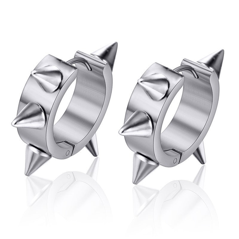 Spike Stud Earrings For Women Men Stainless Steel Stud Earrings Black And Silver Color Fashion Nail Design Earrings