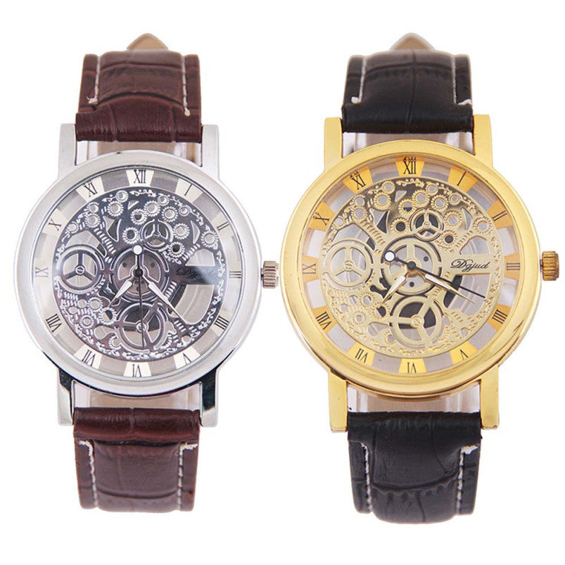 Splendid Design Hollow big dial watches men fashion casual business quartz watches clock sport watches leather wrist watch