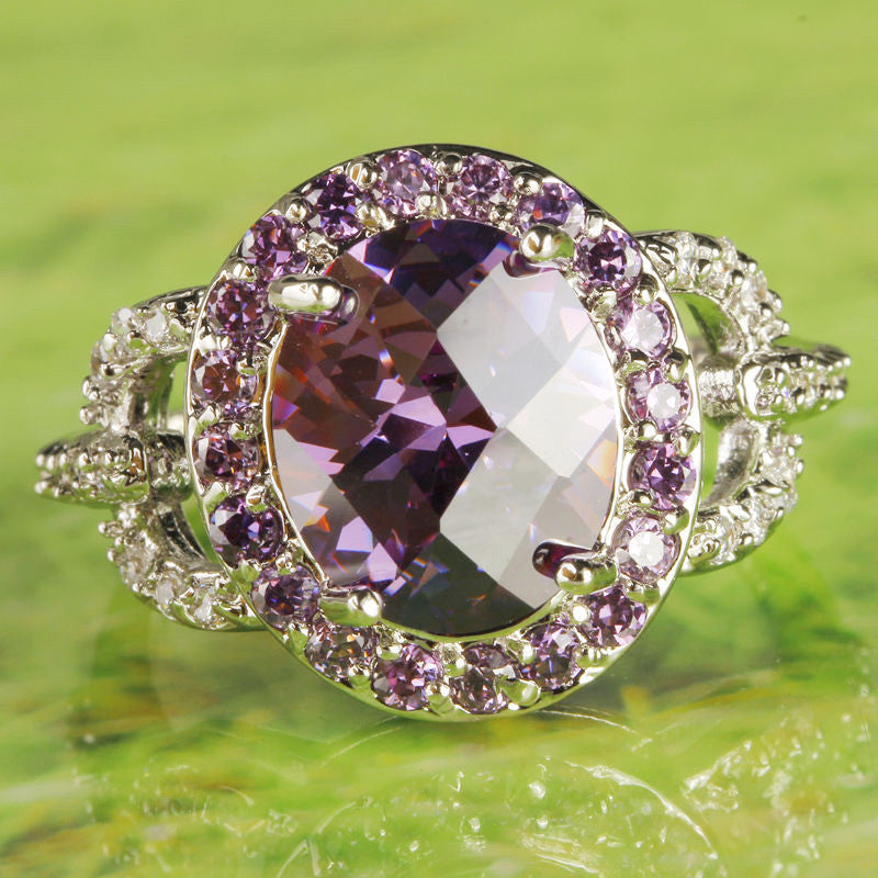 Splendide Noble Oval Cut Amethyst & White Topaz Silver Ring Fashion Women Purple Jewelry