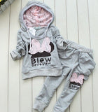Sport style girl suit long sleeve hoodie + long pants children knitted sportswear