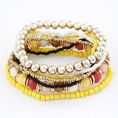 Spring Korean Designer Fashion Bohemia Beads Bracelet Beaded Multilayer Strand Stretch Bracelets Bangles For women Girl