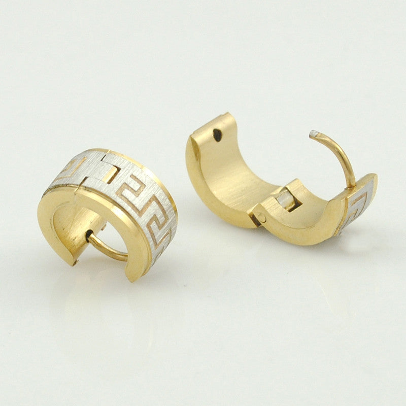 Stainless Steel Earrings Stud pendientes brincos jewelry Round Greek Key Women or Men Earrings Punk Rock