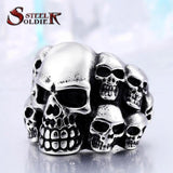 Steel soldier Punk Biker Men's Titanium Stainless Steel Ring Multi Rock lots Skull Ring For Men