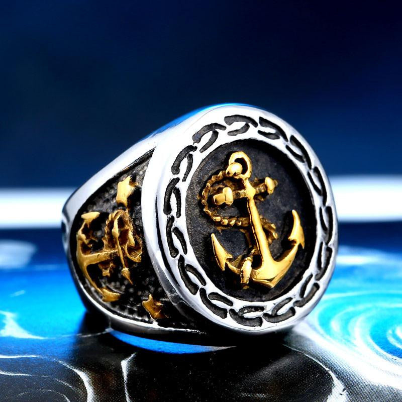 Steel soldier drop shipping stainless steel anchor ring for men punk vintage good detail men jewelry