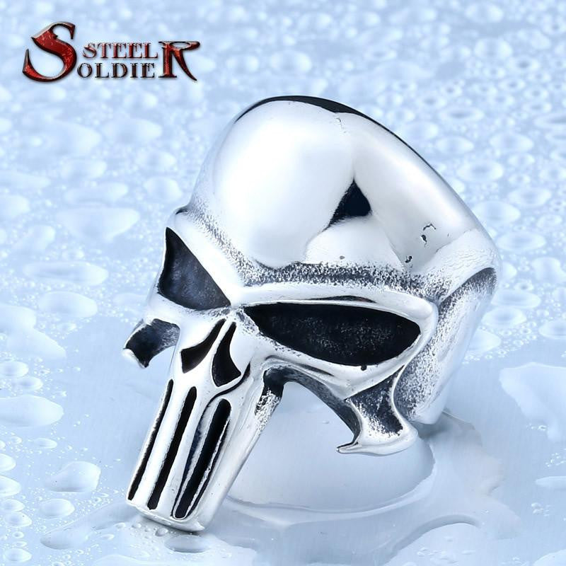 Steel soldier new style punisher skull ring stainless steel fashion men jewelry