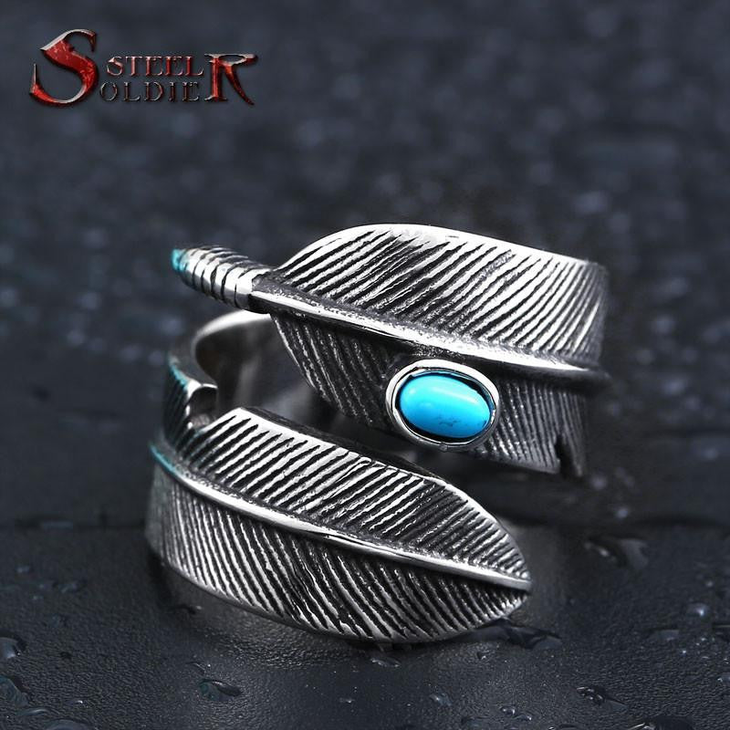 Steel soldier stainless steel feather with stone opening ring popular jewelry