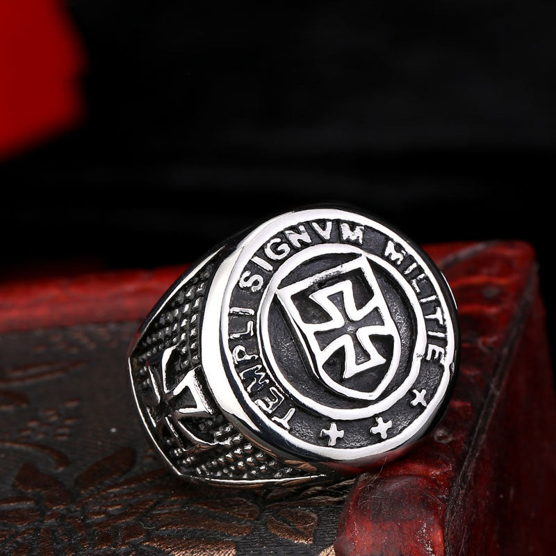 Steel soldier New Arrival cross Knights Templars ring men stainless steel unique jewelry exquisite men biker ring