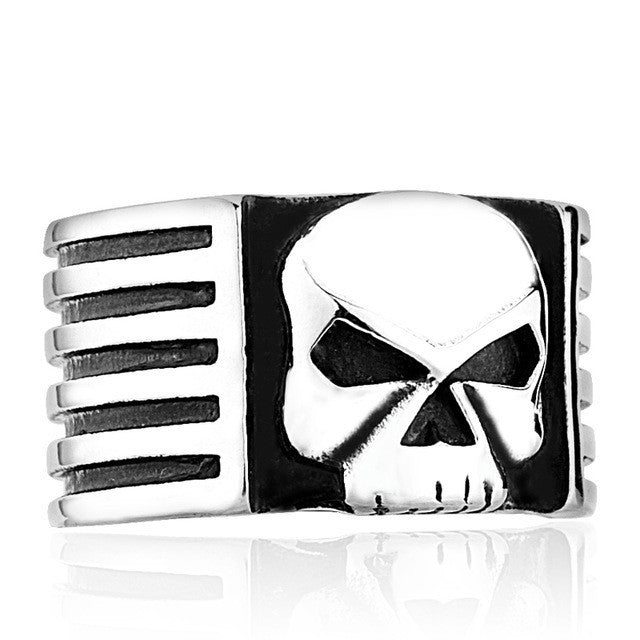 Steel soldier New Super Quality high quality fashion biker skull ring personality men stainless steel jewelry