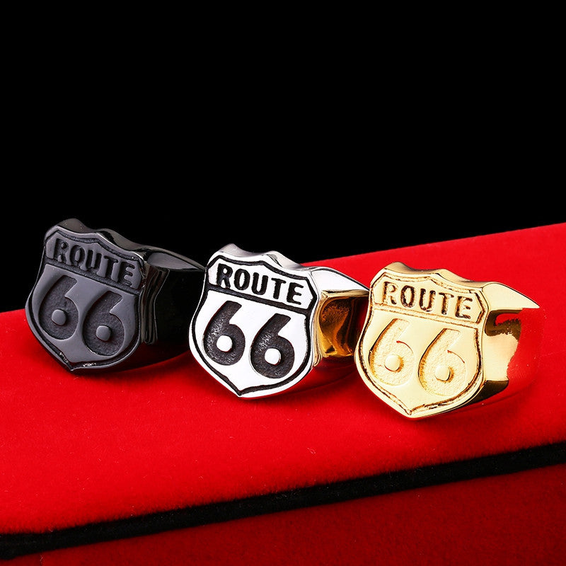 Steel soldier Man's Jewelry Stainless Steel Biker ring Route 66 Ring