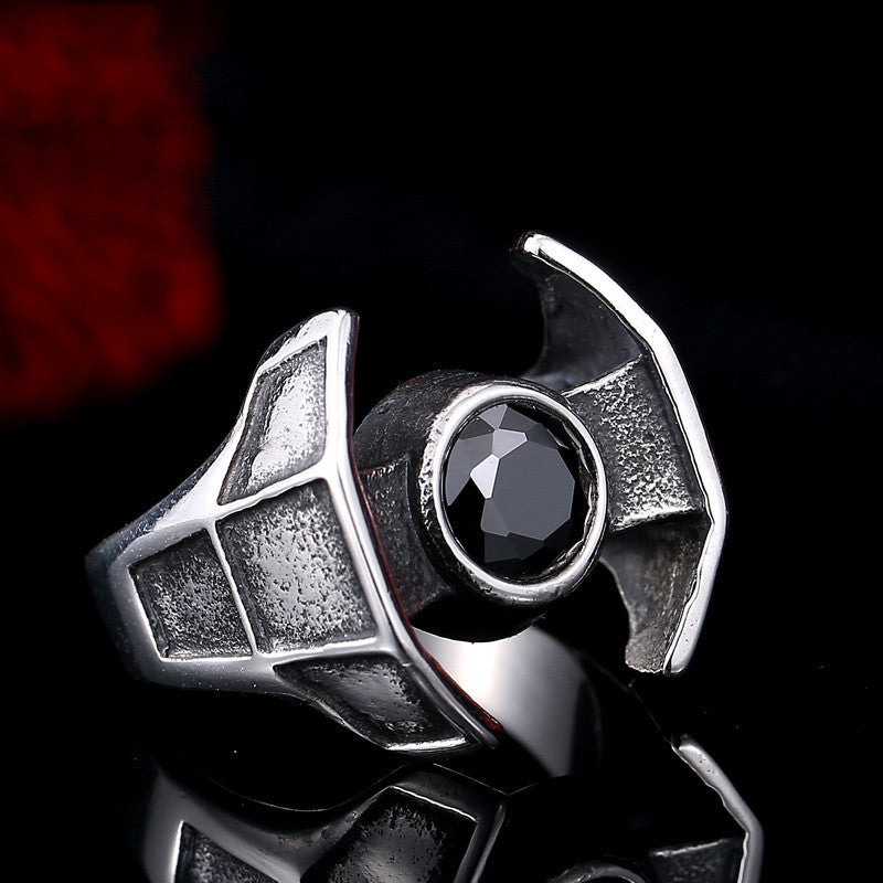 Steel soldier hot sale film style star wars men fashion stainless steel ring unique men Darth Vader's spacecraft jewelry