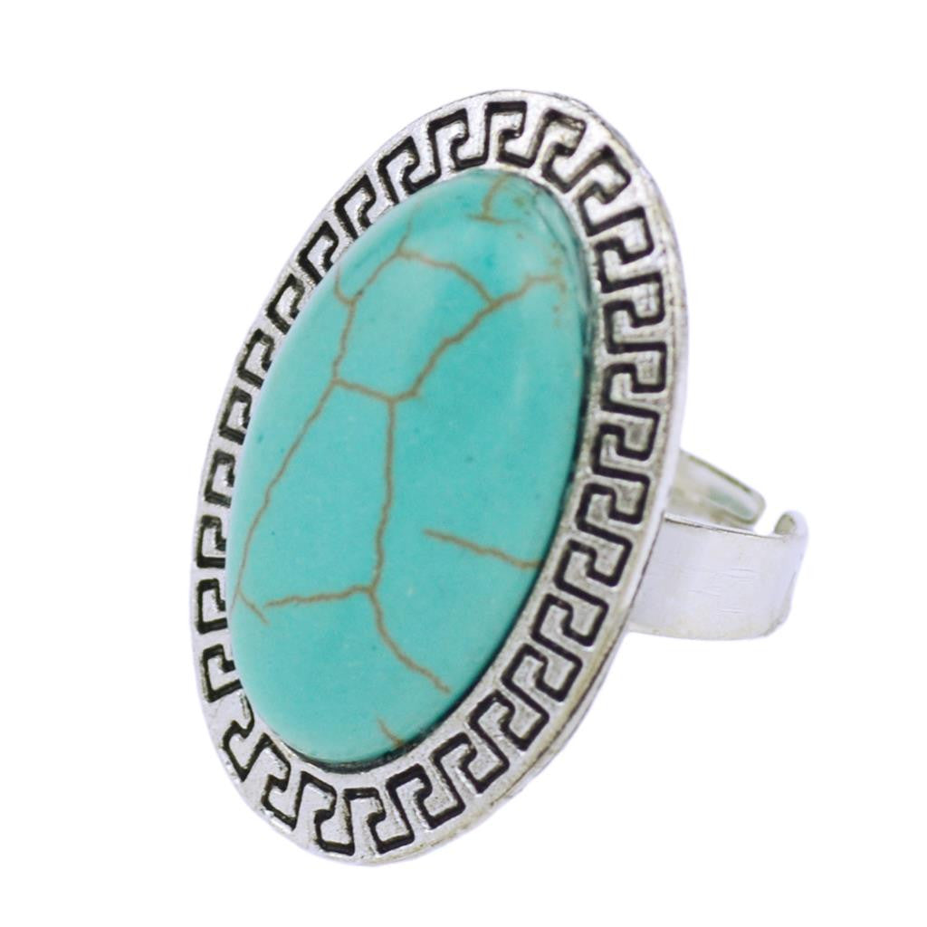 Summer Style Ring Vintage Retro Tibet Silver Plated Color Oval Turquoise Finger Ring for Women Fine Jewelry Gift