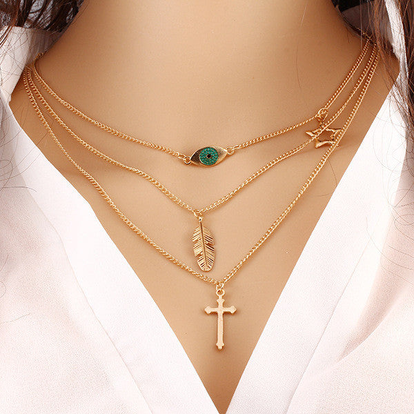 Summer Style Fashion Chain Geometric Cross Necklace Leaf Eye Multi layer Triangle Bohemian Bead Double Chain Necklace Gold