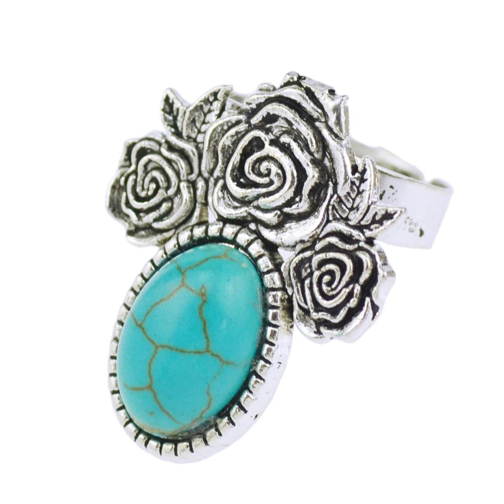 Summer Style Vintage Retro Tibet Flower Silver Plated Color Special Oval Turquoise Finger Ring for Women Fine Jewelry Gift