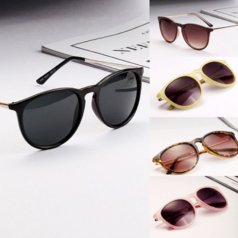 Sun Glasses for Women Men Retro Round Eyeglasses Metal Frame Leg Spectacles Sunglasses