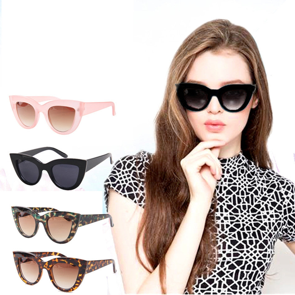 Sunglasses women with box Classic Cat Eye Style Brand Designer Fashion Shades black plastic Sun Glasses oculos de sol