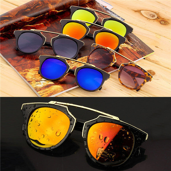 Super Star Fashion Sunglass new cat eye coating sunglasses women brand designer vintage sun glasses for men