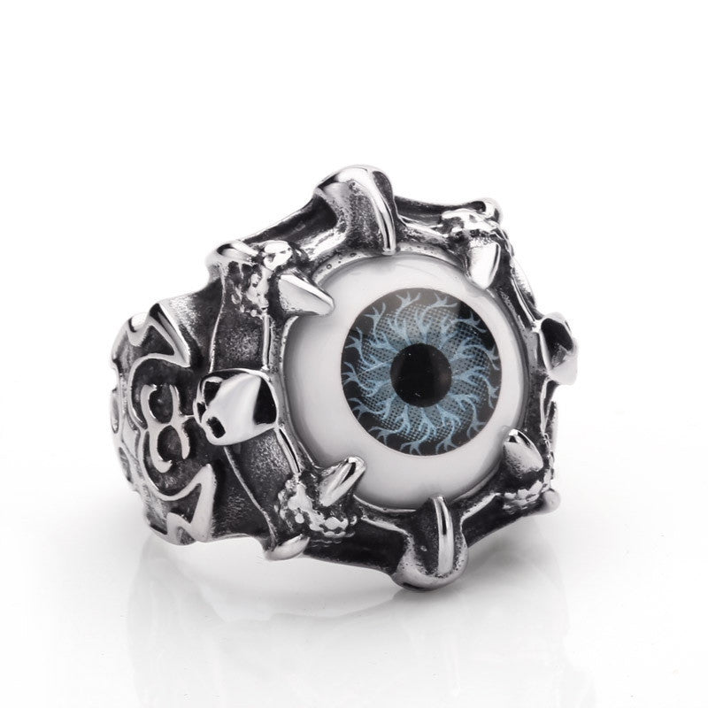 Super Vivid Eye Ring 316L Stainless Steel Fashion Biker Punk Ring Acrylic Eye