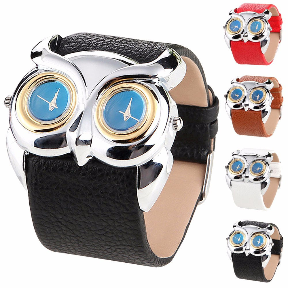 Superior PU Leather Owl Double Dual Dial 30M Waterproof Sport Wrist Watch