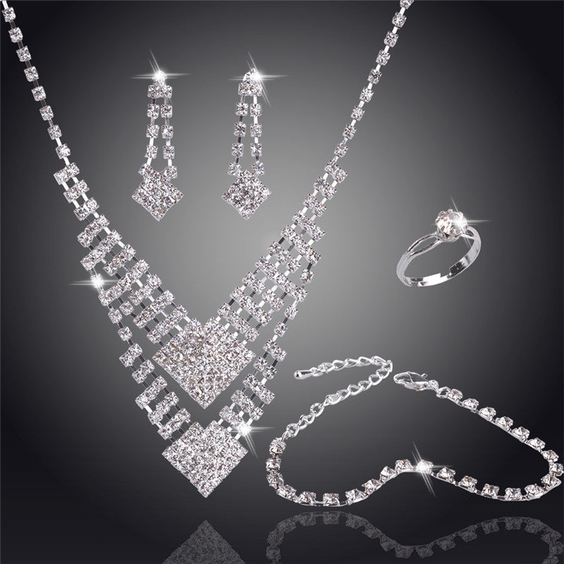 Swaying Pendant Necklace 18K Silver Plated Austrian Crystal Bridal/Wedding Jewelry Sets For Women