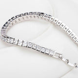 Brand Simple Style! Full of Square Shape Cubic Zirconia Luxury Women Charm Bracelet White Gold Plated
