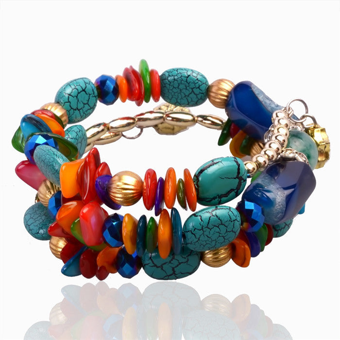 Fashion Imitation Gemstone Jewelry Charm Bracelet Handcraft Multilayer Natural Stone Resin bracelet bangles For Women