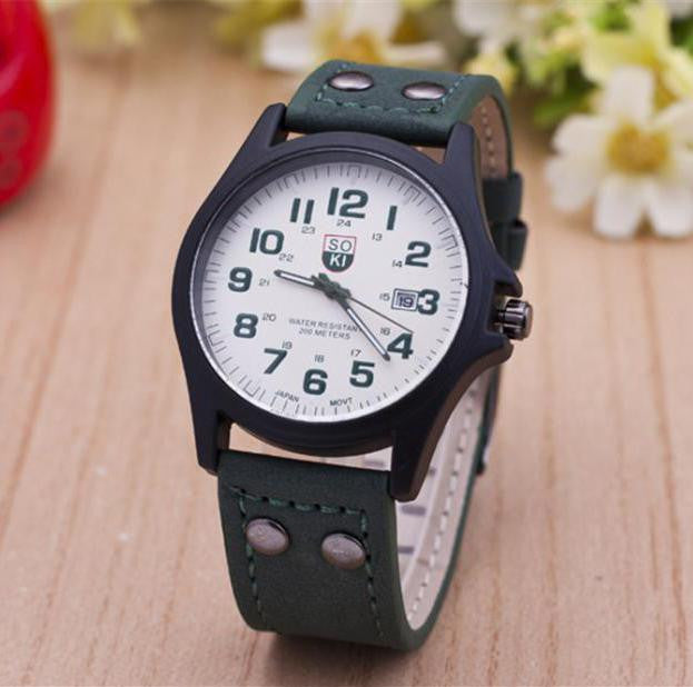 The Latest Soki Military Amy Sport Outdoor Genuine Leather Cavas Belt Dress Quartz Wristwatches Watch for Men Boy