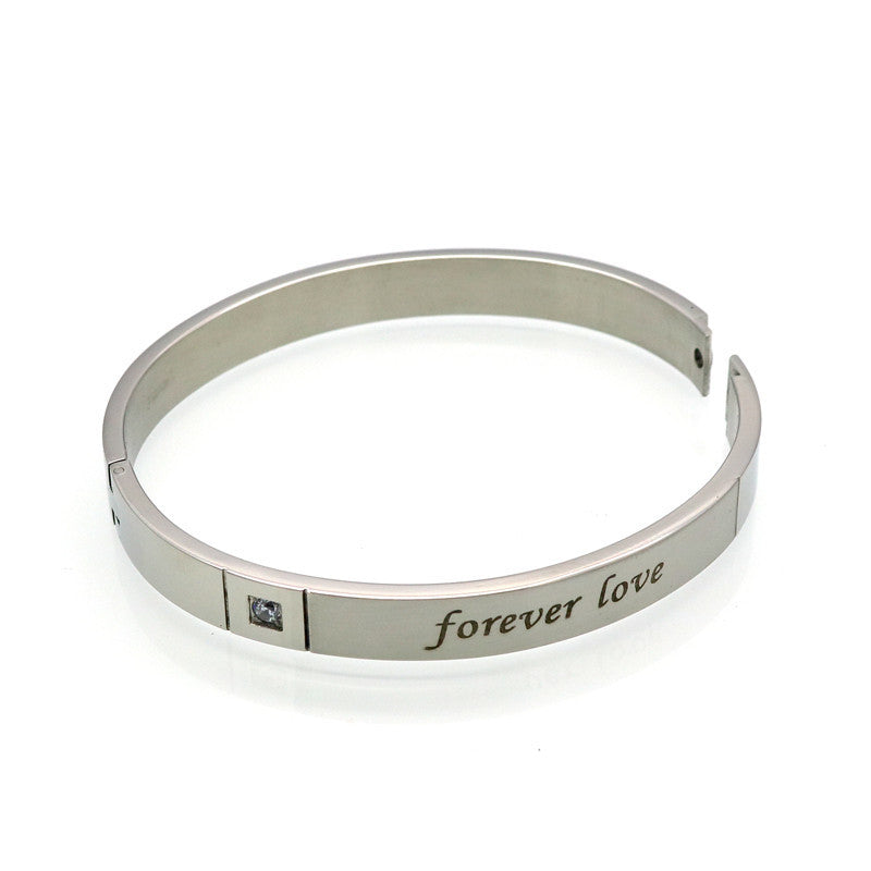 "Titanium Couple Bracelets For Men And Women Wholesale Love's Letter ""Forever Love"" Bracelets & Bangles With Shiny CZ Stone"