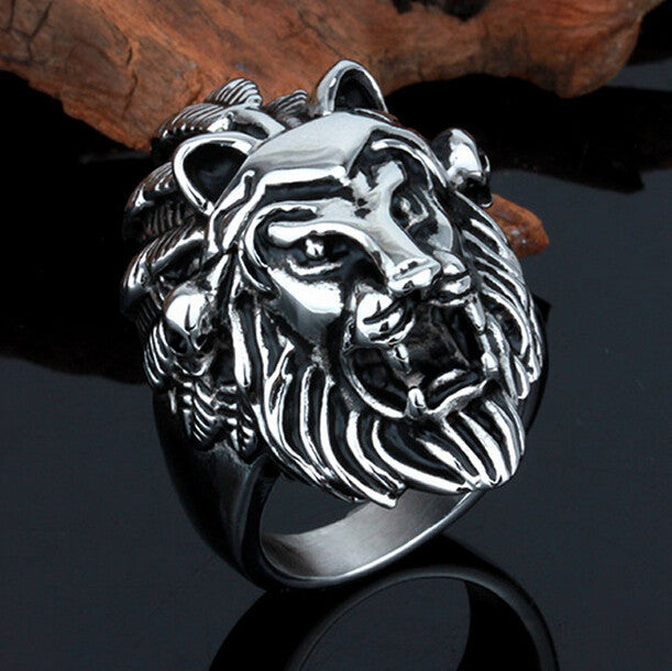 Titanium Steel Lion Head Rings For Men Allergy Free Punk Rock Jewelry Non-Mainstream Cool Mens Rings Party Accessory Friendship