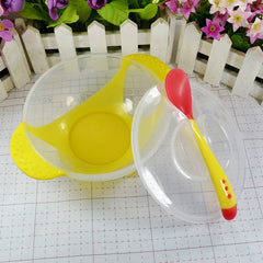 Baby Kids Child Feeding Lid Training Bowl with Spoon Cartoon Binaural Baby Feeding Tableware Children Plate Sucker Bowl