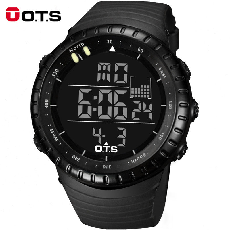 Top Brand OTS Cool Black Mens Fashion Large Face LED Digital Swimming Climbing Outdoor Man Sports Watches Christmas Boys Gift