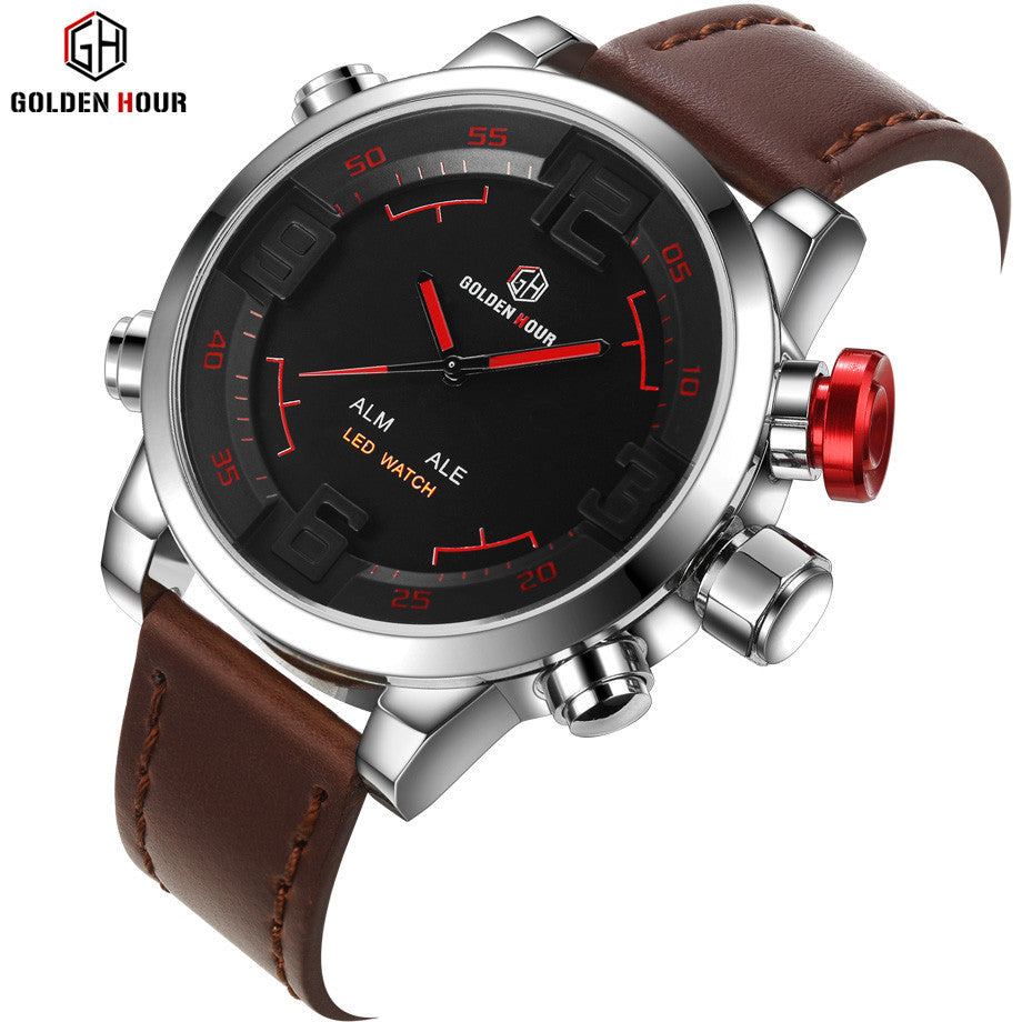 Top Luxury Brand Watches Men LED Digital Quartz Clock Fashion Leather Waterproof Sports Watch Military Style Relogio Masculino