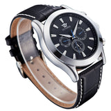 Top Mechanical Wrist Watch OUYAWEI Brand Men's Favorite Watches Leather Strap Analog Display