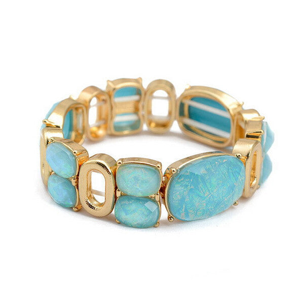 Top Quality 18K Real Gold Plated Mix Color Resin Bracelet Bangles Inlay Austria Big Crystal Charms pulseiras femininas