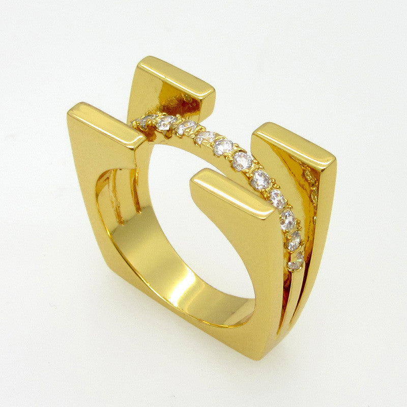 Top Quality Fashion Jewelry Square Double Luxury Brand Crystal Ring For Women 18K Rose Gold Plated With Cubic Zircon Ring