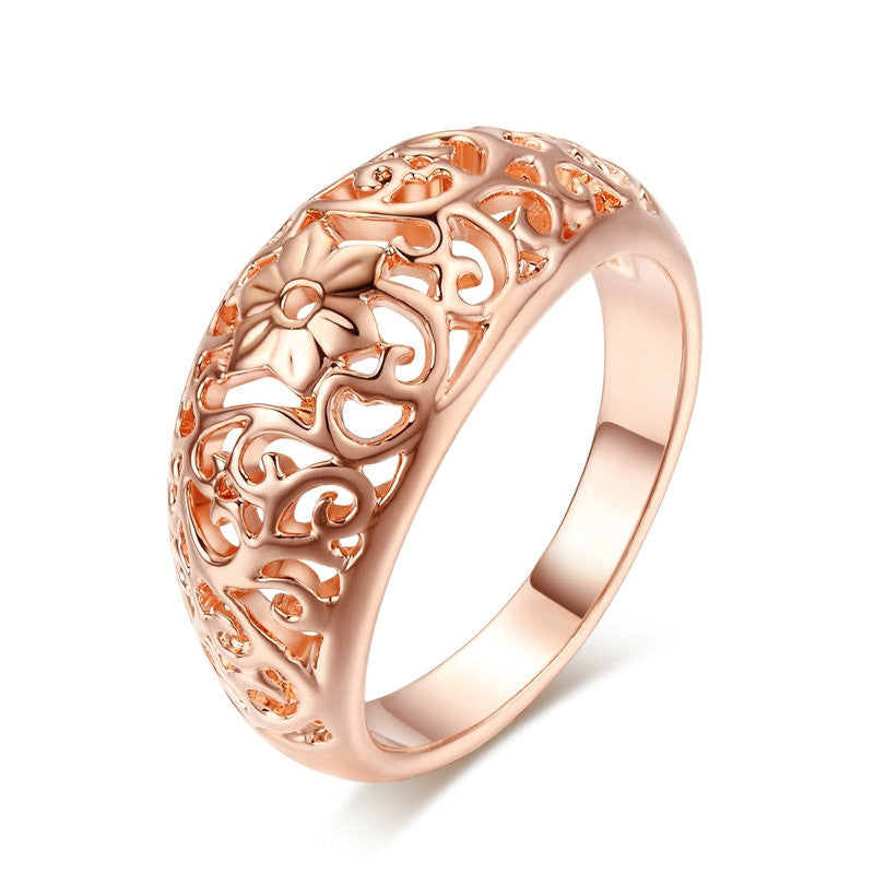 Top Quality Flower Hollowing craft 18K Rose Plated Ring Fashion Jewelry Full Sizes