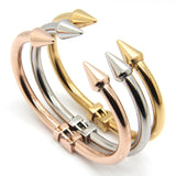 Top Quality Stainless Steel Jewelry Conical Arrows Bracelets & Bangles Wholesale 18K Gold Cone Nail Cuff Bracelet For Women