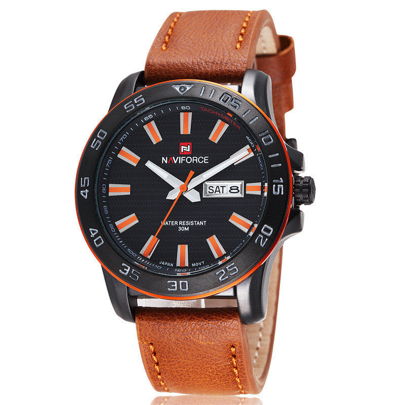 Luxury NAVIFORCE Brand Genuine Leather Analog Display Date Men Quartz Watch Sports Watch