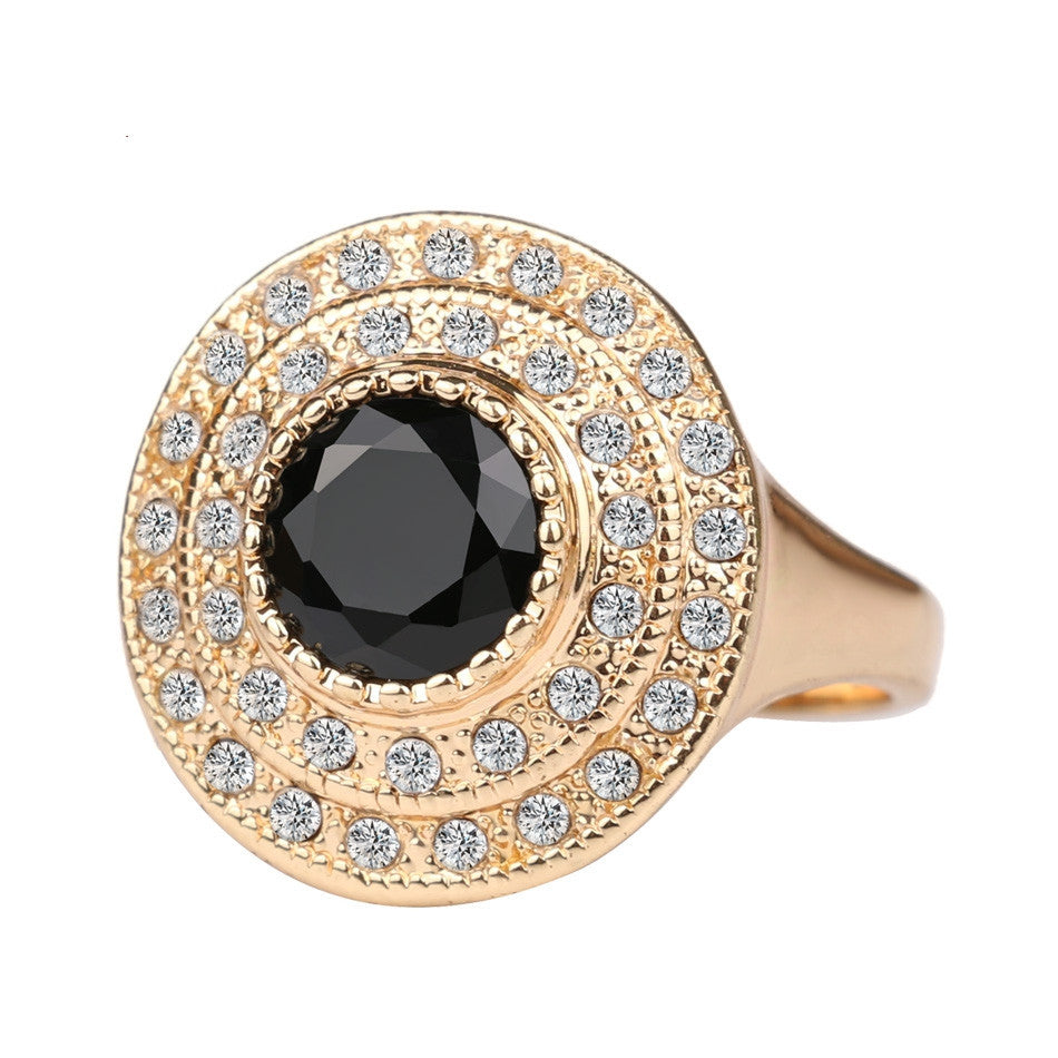 Top Fashion Round Black Ring 18K Gold Plated Punk Rock Crystal Rings For Women Love Gift Vintage Jewelry