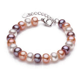 Top Quality 9-10mm Natural Freshwater Pearl Bracelet For Women White/multi-color 18cm+4cm extended chain