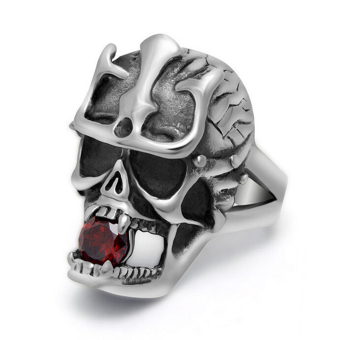 Top Quality Fashion Vintage Skull Ring Men Cool Stainless Steel Rings For Men Punk Biker Ruby Jewelry Mens Rings