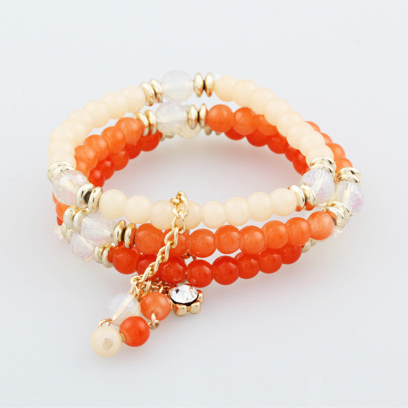 Trendy Fashion Bohemian 3 Multilayer Beads Bracelets Beaded Rhinestone Tassels Charm Bracelets Bangles for Women