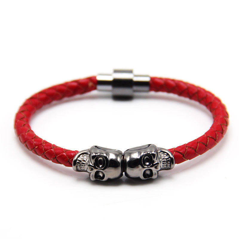 Trendy fashion leather bracelet Punk Gun Black color skull bracelet man leather bracelet