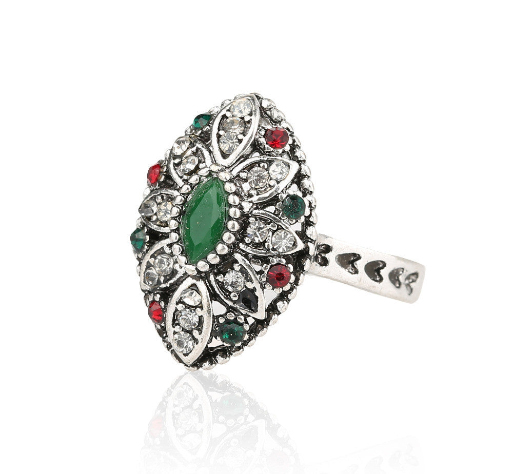 Turkish Jewelry Beautiful Flower Antique Tibetan Silver Rings For Women Fashion Resin Ring Crystal Gifts