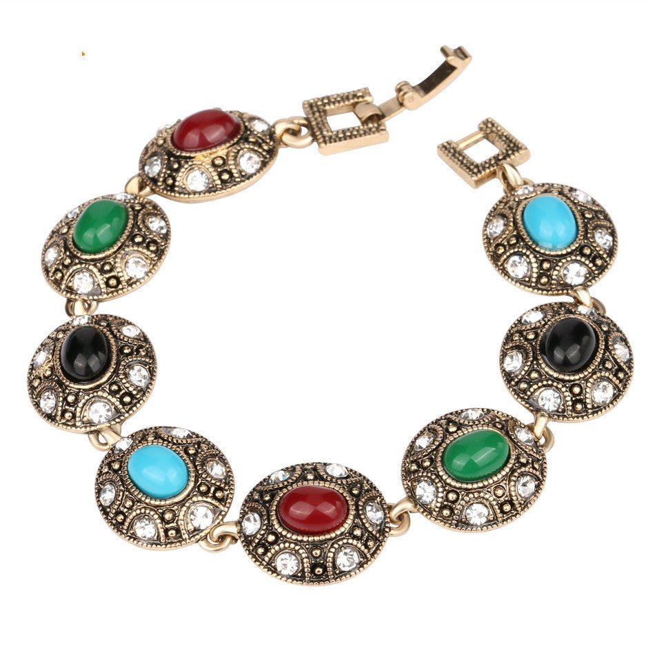 Turkish Jewelry Bracelets For Women Ancient Gold Plated 7 Colour Resin Oval Connect Fashionable Vintage Jewelry