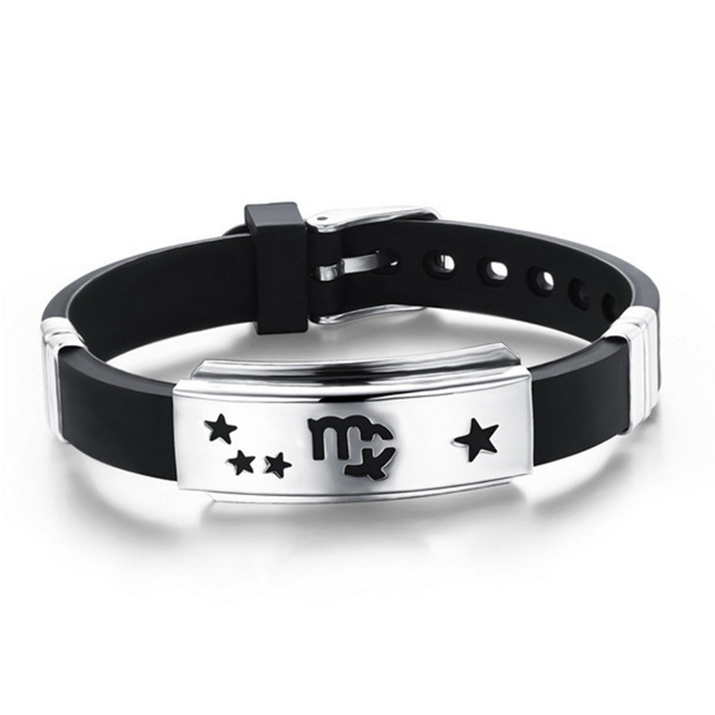 Twelve Constellations Cuff Bracelet Men Jewelry Stainless Steel Genuine Silicone Leather Bracelets & Bangles For Christmas Gift