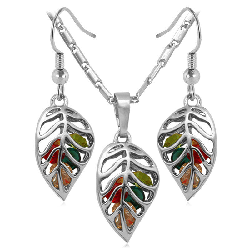 Fashion Crystal Necklace Set Women Party Gift Gold Plated Colorful Leaf Necklace Earrings Jewelry Sets
