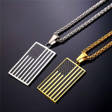 Hot American Flag Pendant Stainless Steel Men Chain Necklace Gold Plated Trendy USA Symbol Necklace Men Jewelry