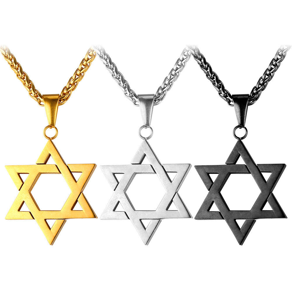 Jewish Jewelry Magen Star of David Pendant Necklace Women Men Chain Rose/Gold Plated Stainless Steel Israel Necklace
