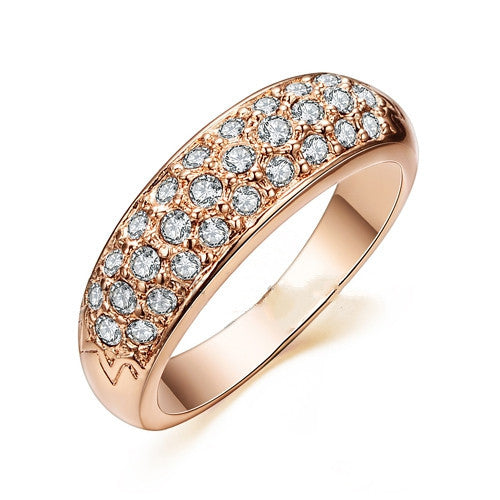 Classic anillos mujer bague aros Rose Gold Plated Rhinestones Studded Finger Rings
